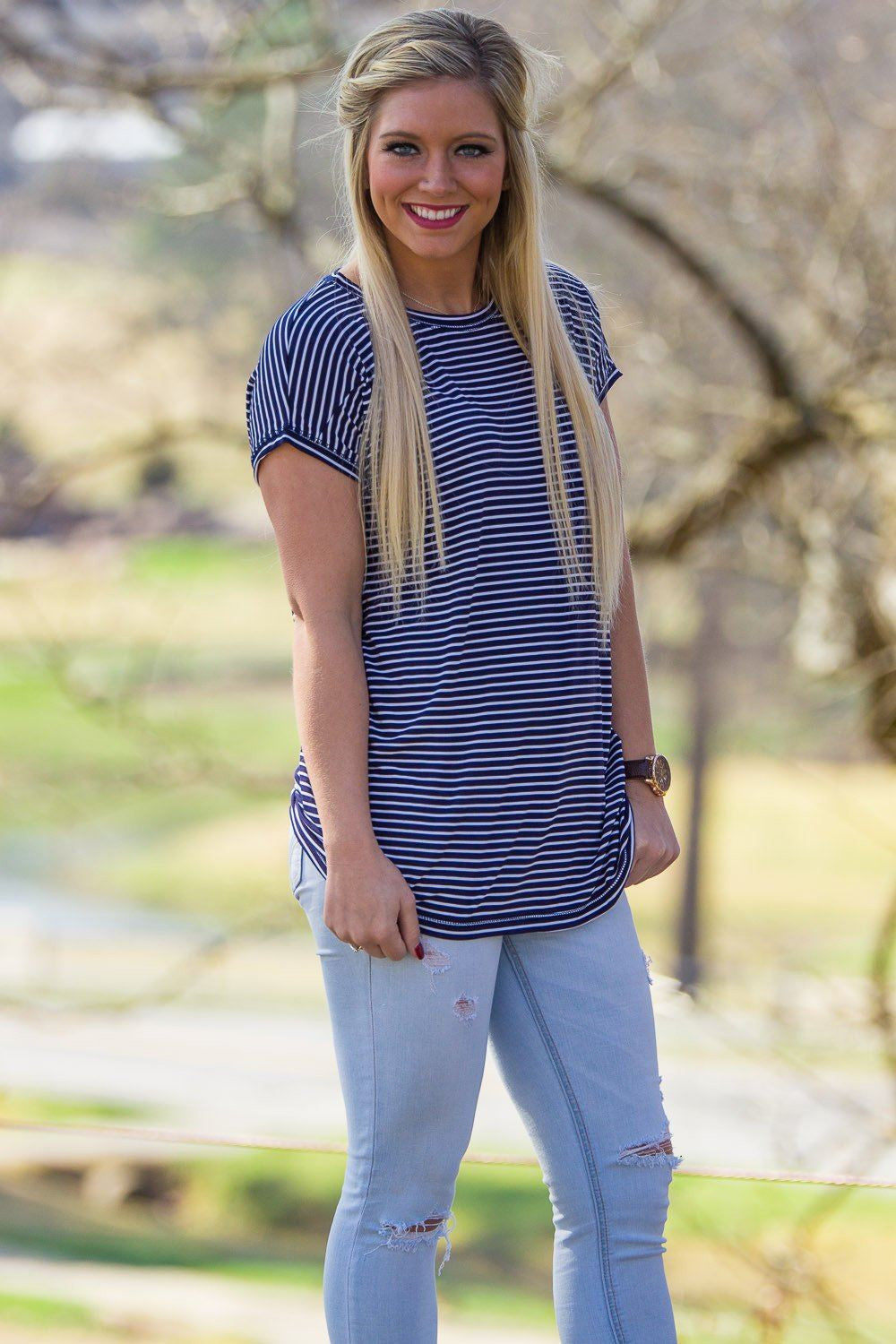 Short Sleeve Rolled Sleeve Tiny Stripe Piko Top - Navy/White - Piko Clothing - 1