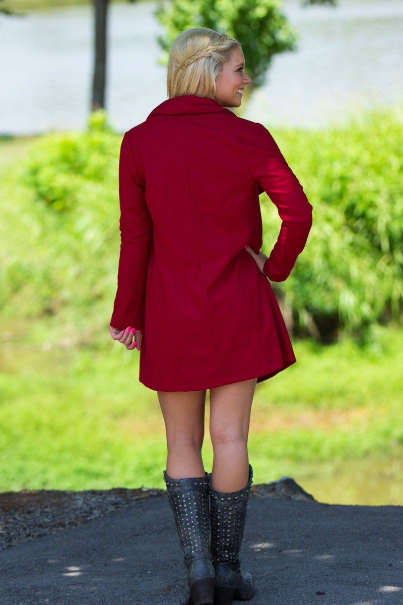 Long Sleeve Piko Jacket-Wine - Piko Clothing