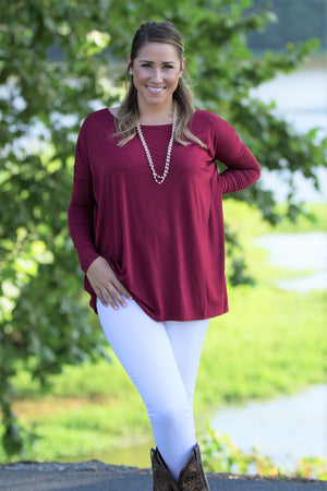 Long Sleeve Piko Top - Wine - Piko Clothing