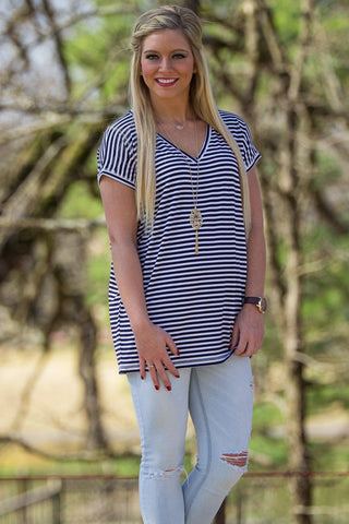 Short Sleeve Rolled Sleeve V-Neck Tiny Stripe Piko Top - Navy/White - Piko Clothing - 1