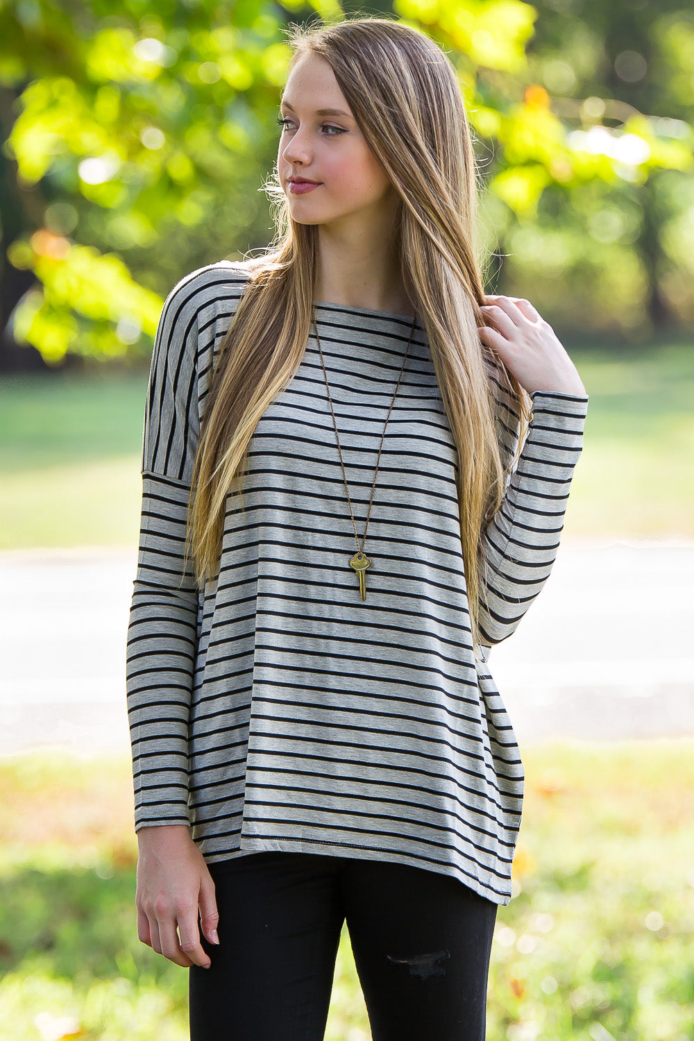 Long Sleeve Tiny Stripe Piko Top - Heather/Black