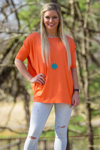 3/4 Sleeve Piko Top - Orange - Piko Clothing