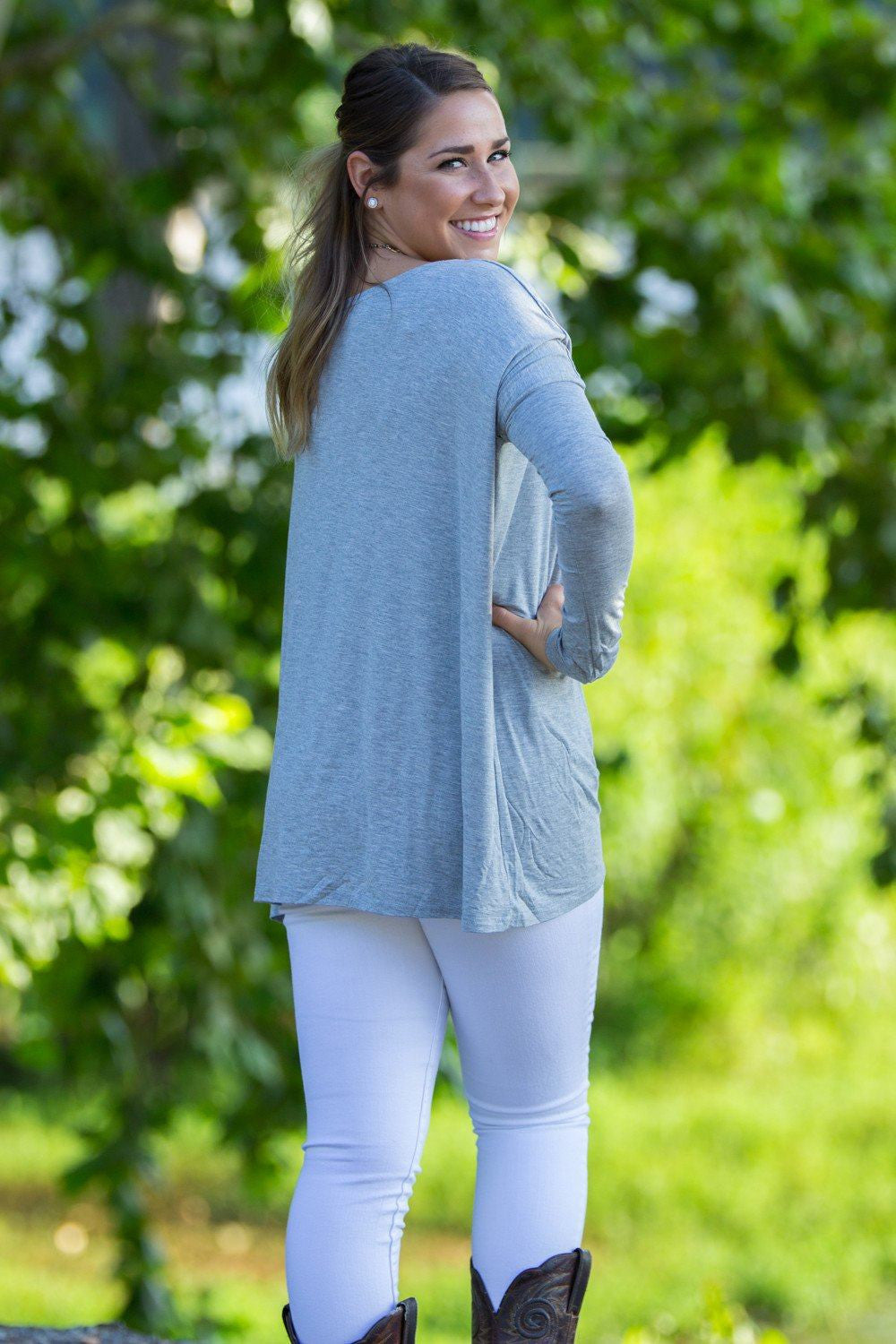 Long Sleeve Piko Top - Heather Grey - Piko Clothing