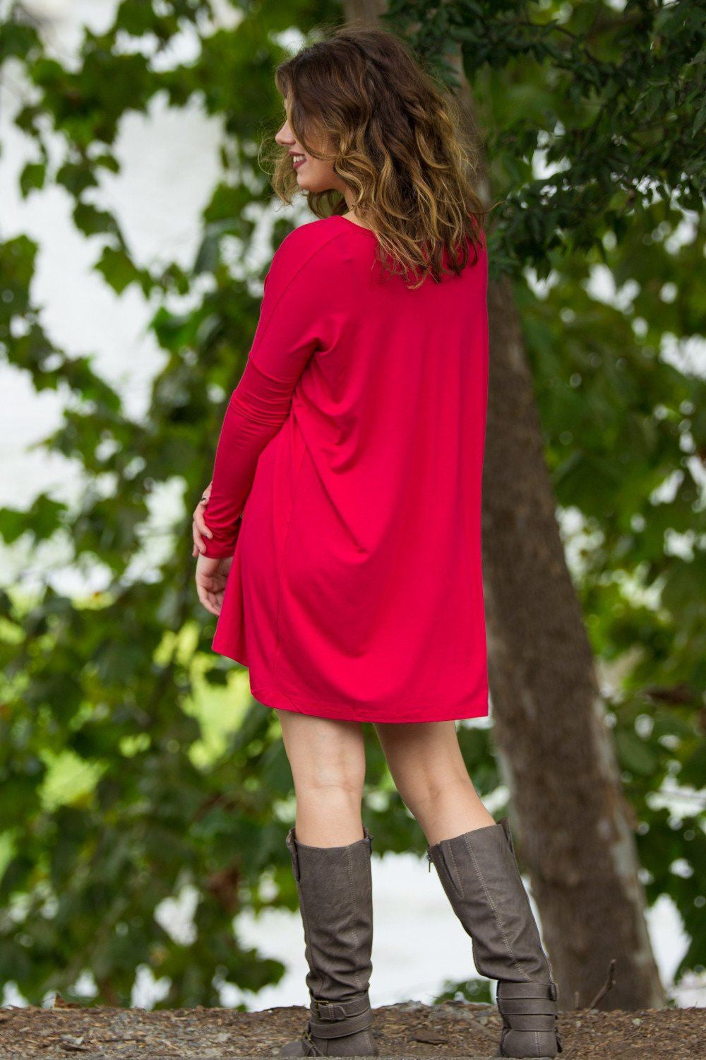 Long Sleeve V-Neck Piko Tunic - Red - Piko Clothing