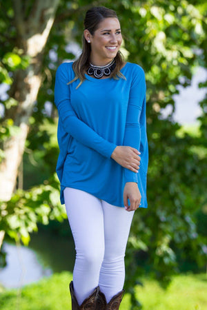 Long Sleeve Piko Top - Dazzling Blue - Piko Clothing