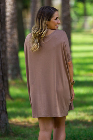 Half Sleeve Piko Tunic - Mocha - Piko Clothing