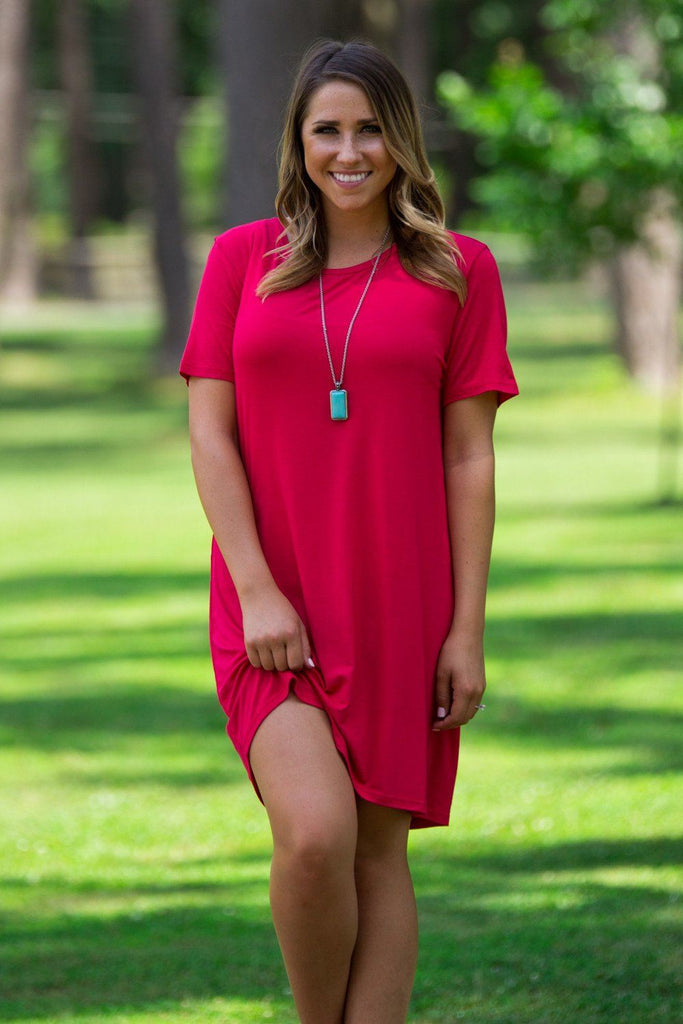 Short Sleeve Piko Dress - American Red - Piko Clothing - 1