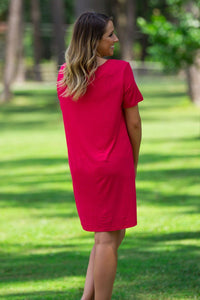 Short Sleeve Piko Dress - American Red - Piko Clothing