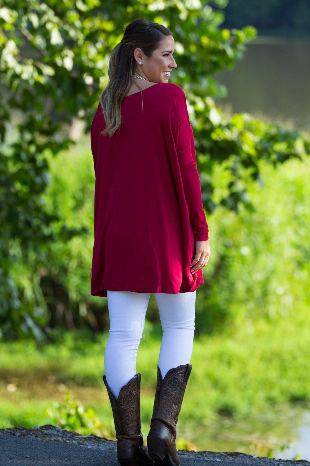 Long Sleeve Piko Tunic - Wine - Piko Clothing