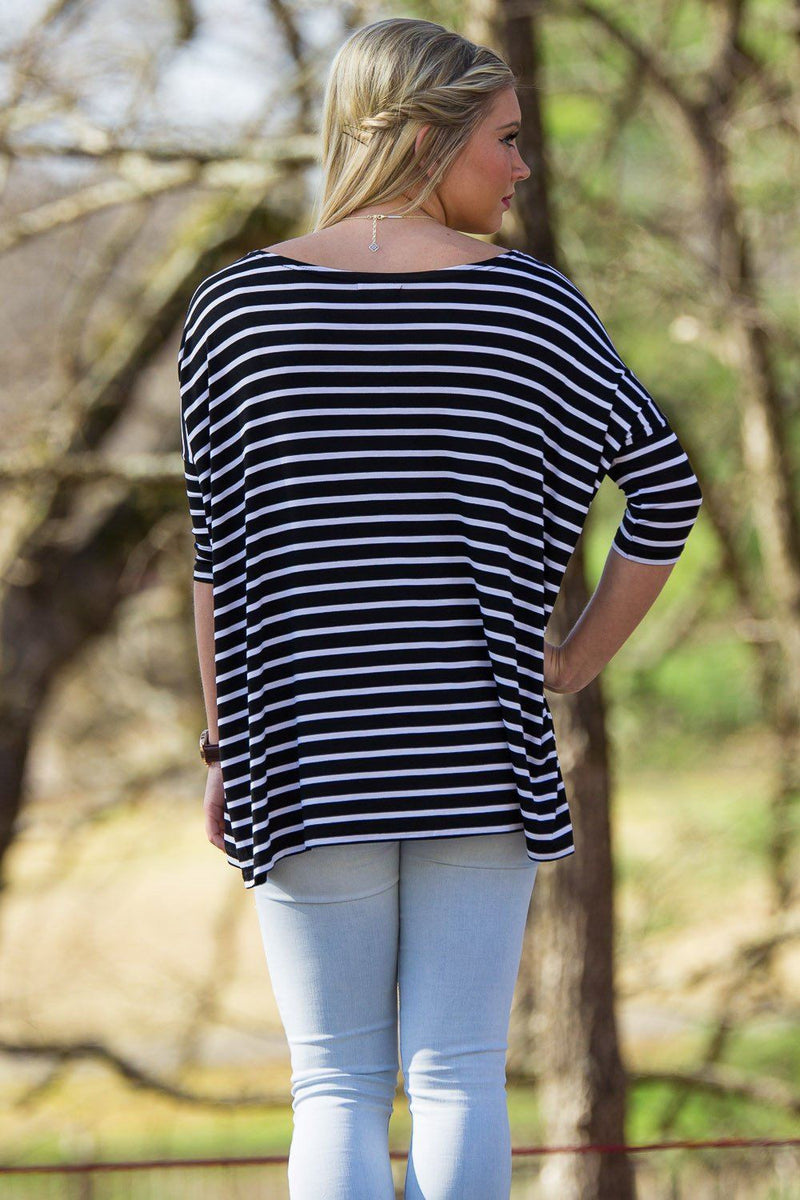 3/4 Sleeve Tiny Striped Piko Top - Black/White - Piko Clothing