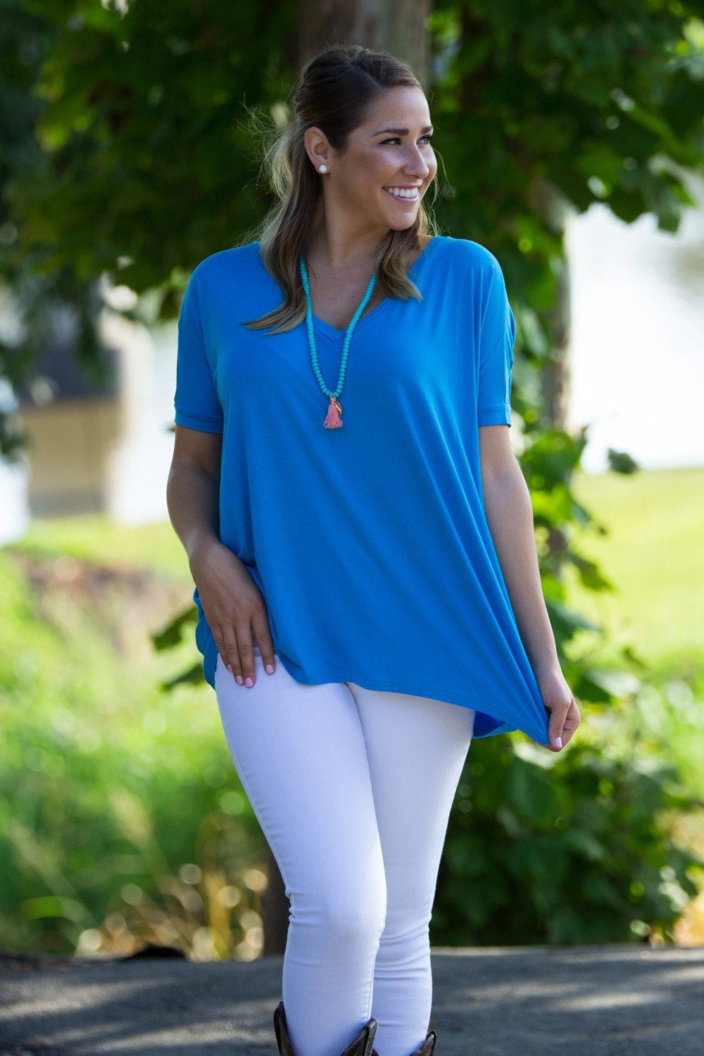Short Sleeve V-Neck Piko Top - Dazzling Blue - Piko Clothing - 1