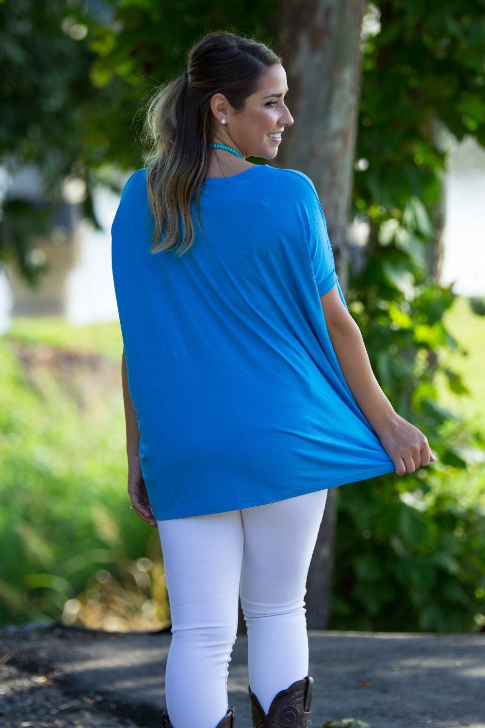 Short Sleeve V-Neck Piko Top - Dazzling Blue - Piko Clothing - 2