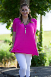 Short Sleeve V-Neck Piko Top - French Rose - Piko Clothing - 1