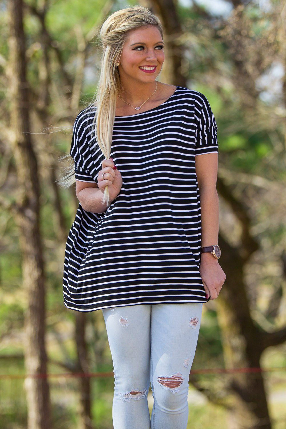Short Sleeve Tiny Stripe Piko Top - Black/White - Piko Clothing - 1