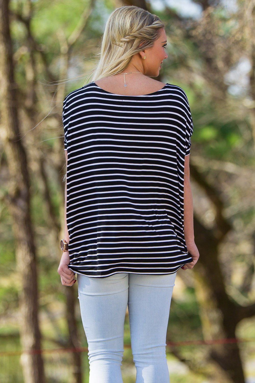 Short Sleeve Tiny Stripe Piko Top - Black/White - Piko Clothing