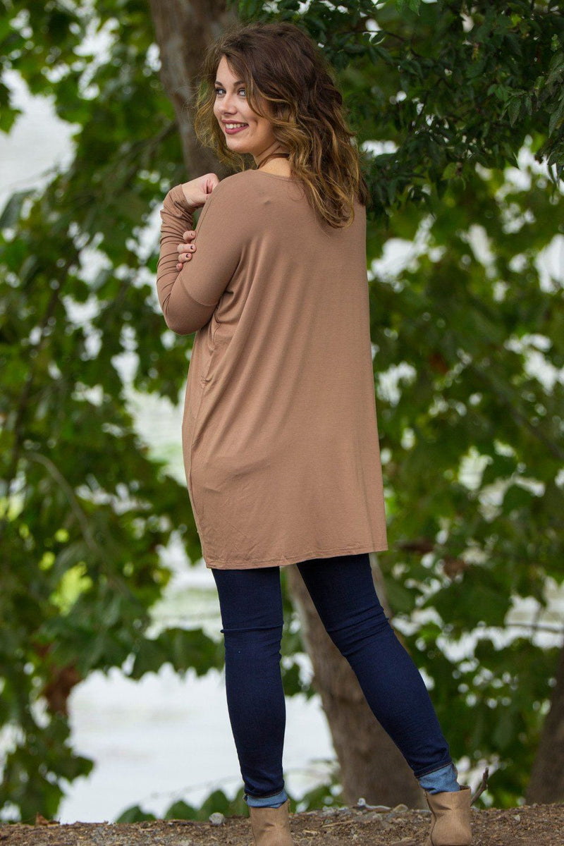 Long Sleeve Piko Tunic - Mocha - Piko Clothing