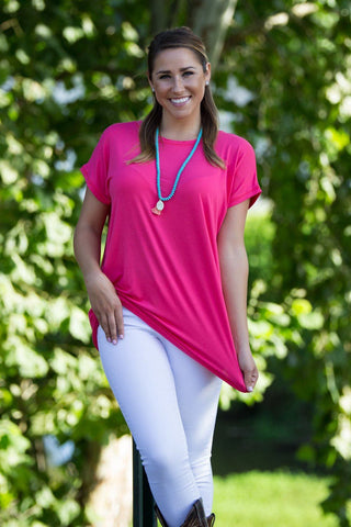 Short Sleeve Rolled Sleeve Piko Top - Hot Pink - Piko Clothing - 1