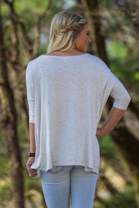 3/4 Sleeve Piko Top - Light Heather Grey - Piko Clothing
