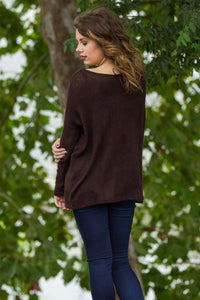 Long Sleeve Piko Sweater - Dark Brown - Piko Clothing