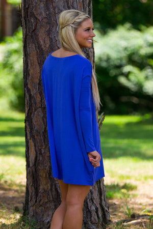 Long Sleeve V-Neck Piko Tunic - Cobalt - Piko Clothing