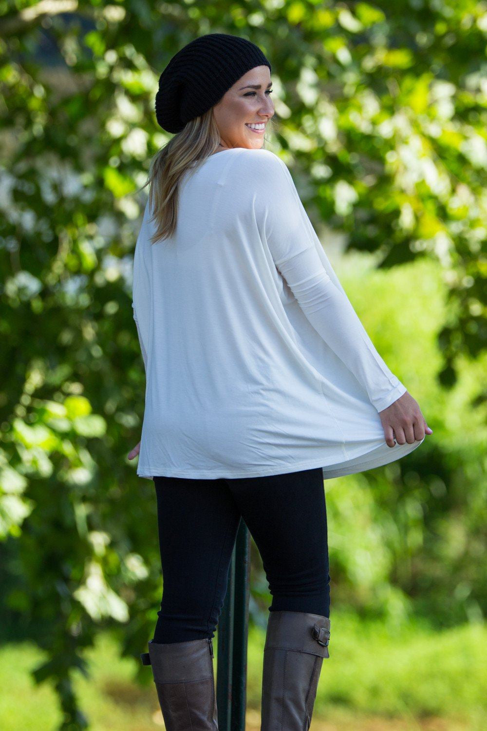 Long Sleeve Piko Top - Off White - Piko Clothing
