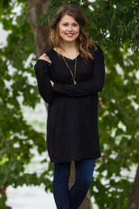 Long Sleeve Piko Sweater Tunic - Black - Piko Clothing