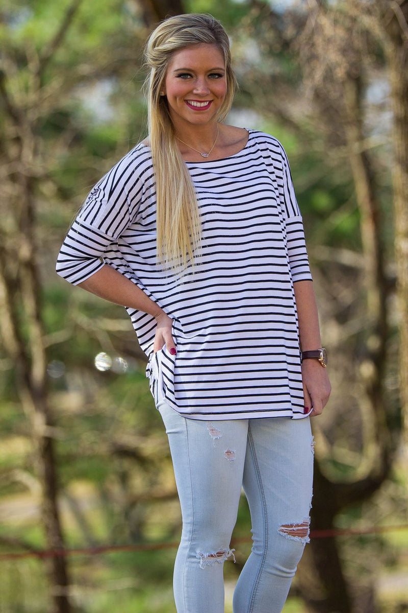 3/4 Sleeve Tiny Striped Piko Top - White/Black - Piko Clothing