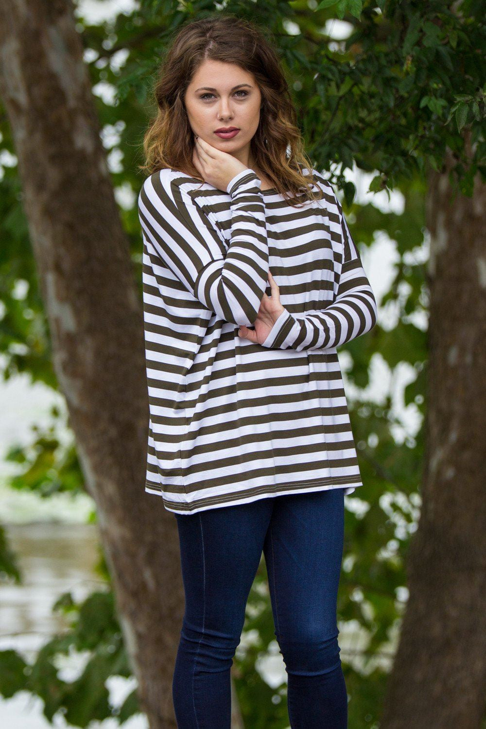 Long Sleeve Thick Stripe Piko Top - Olive/White - Piko Clothing