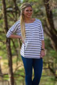 3/4 Sleeve Thick Striped Piko Top - Grey/White - Piko Clothing