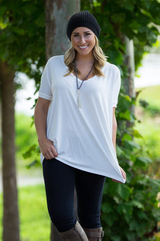 Short Sleeve V-Neck Piko Top - Off White - Piko Clothing - 1