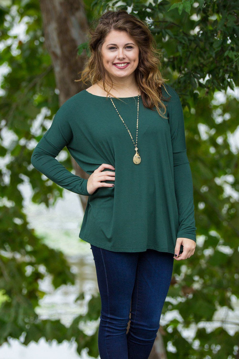 Long Sleeve Piko Top - Forest Green - Piko Clothing