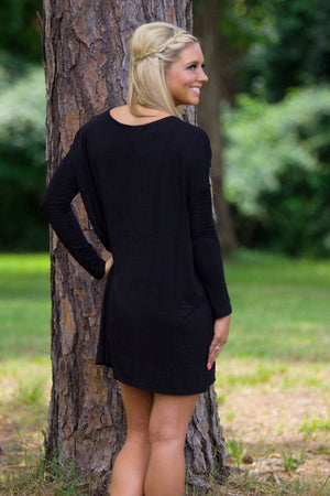 Long Sleeve V-Neck Piko Tunic - Black - Piko Clothing