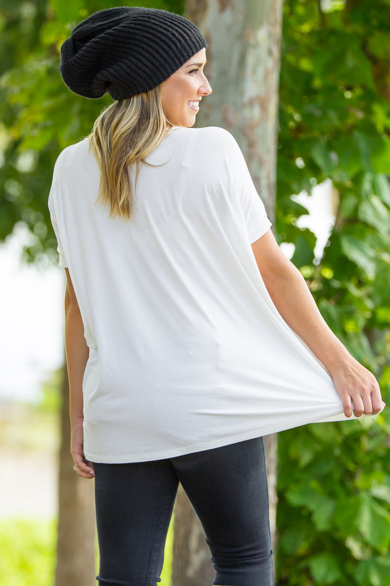 Short Sleeve V-Neck Piko Top - White - Piko Clothing