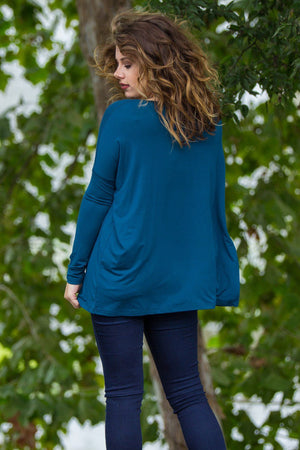 Long Sleeve V-Neck Piko Top - Majolica Blue - Piko Clothing