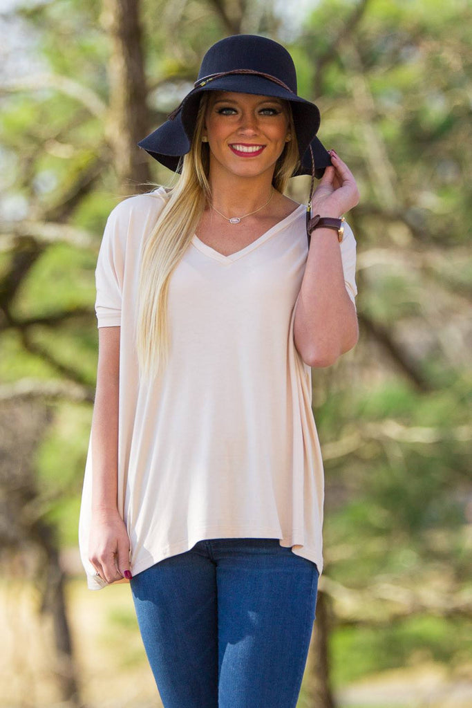 Short Sleeve V-Neck Piko Top - Cream - Piko Clothing - 1