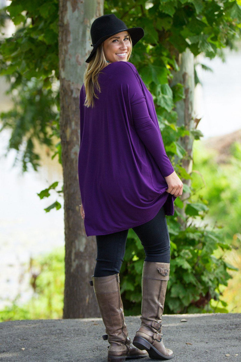 Long Sleeve V-Neck Piko Tunic - Dark Purple - Piko Clothing