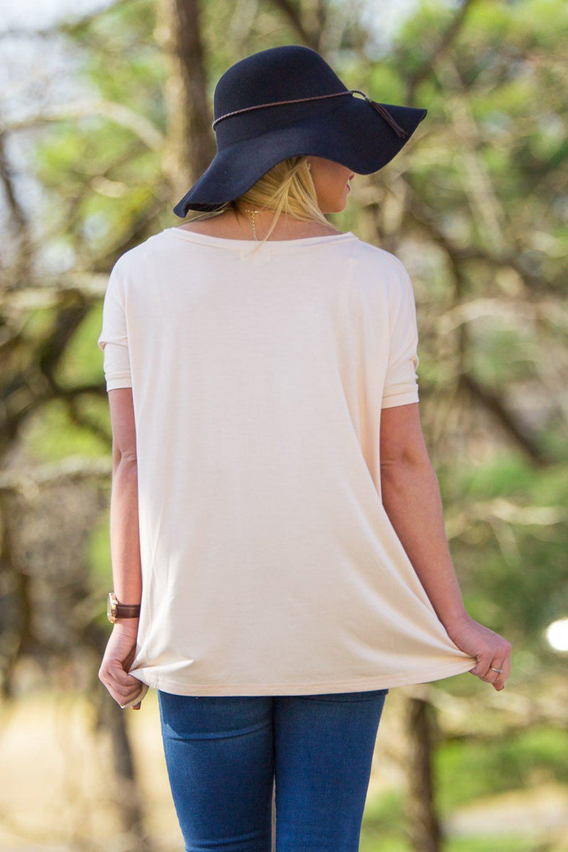 Short Sleeve V-Neck Piko Top - Cream - Piko Clothing - 2