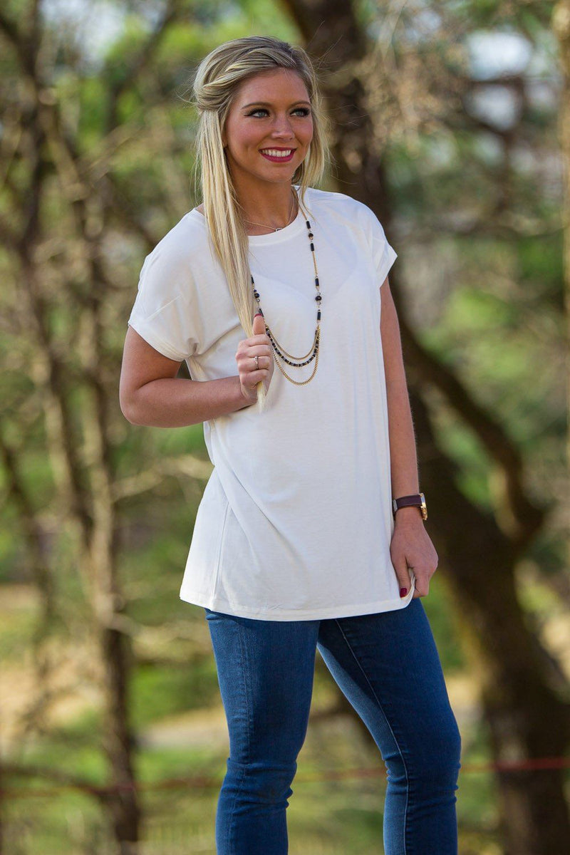 Short Sleeve Rolled Sleeve Piko Top - Off White - Piko Clothing - 1