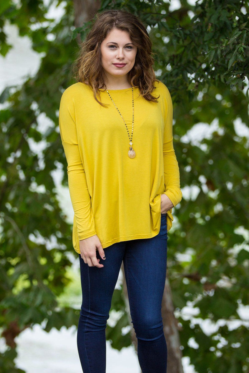 Long Sleeve Piko Top - Mustard - Piko Clothing