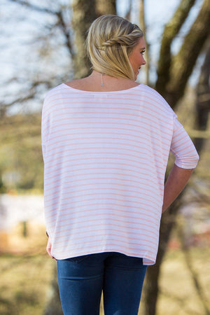 3/4 Sleeve Tiny Striped Piko Top - White/Pink - Piko Clothing