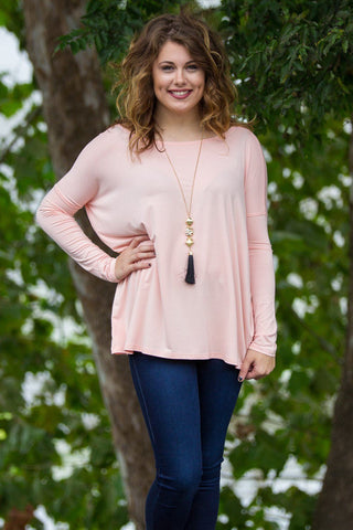 Long Sleeve Piko Top - Light Peach - Piko Clothing