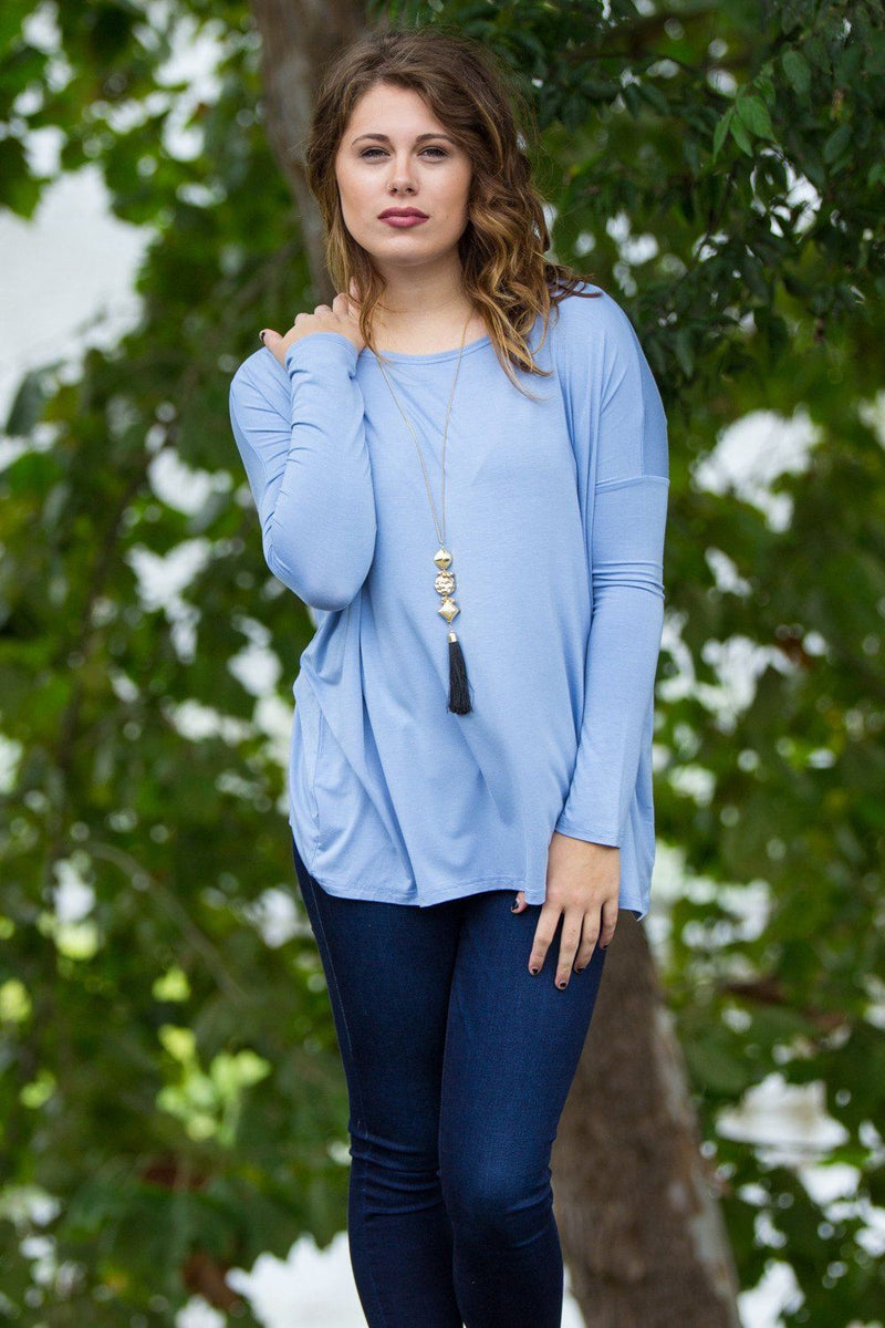 Long Sleeve Piko Top - Light Blue - Piko Clothing