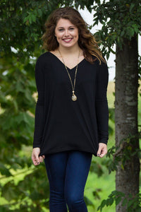Long Sleeve V-Neck Piko Top - Black - Piko Clothing