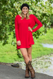 Long Sleeve Piko Tunic - Red - Piko Clothing