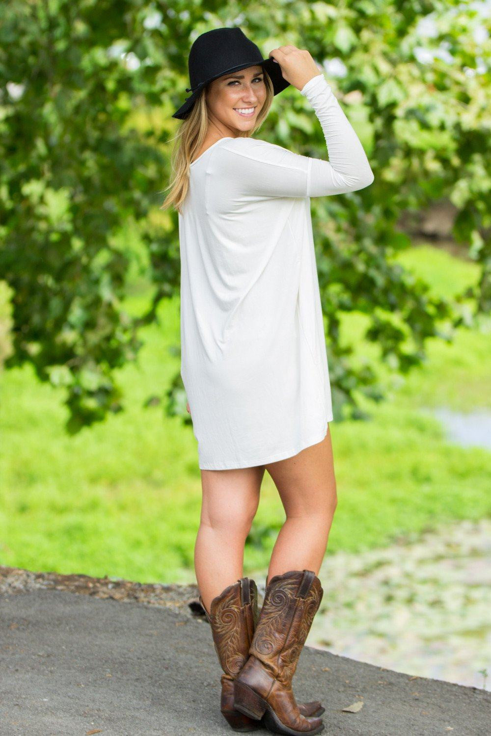 Long Sleeve V-Neck Piko Tunic - Off White - Piko Clothing
