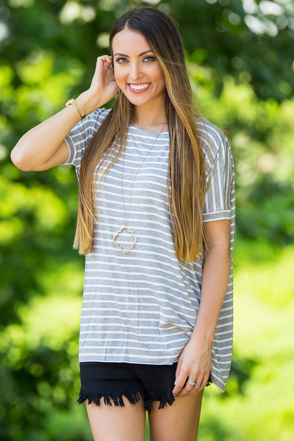 Short Sleeve Tiny Stripe Piko Top - Heather/White