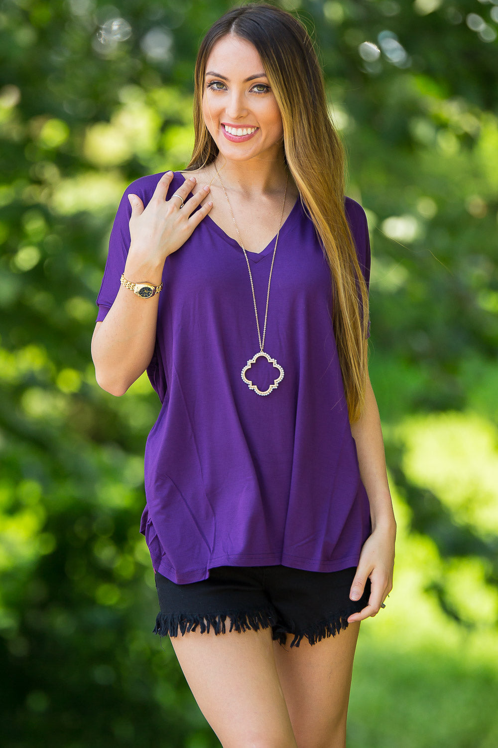 Short Sleeve V-Neck Piko Top - Dark Purple