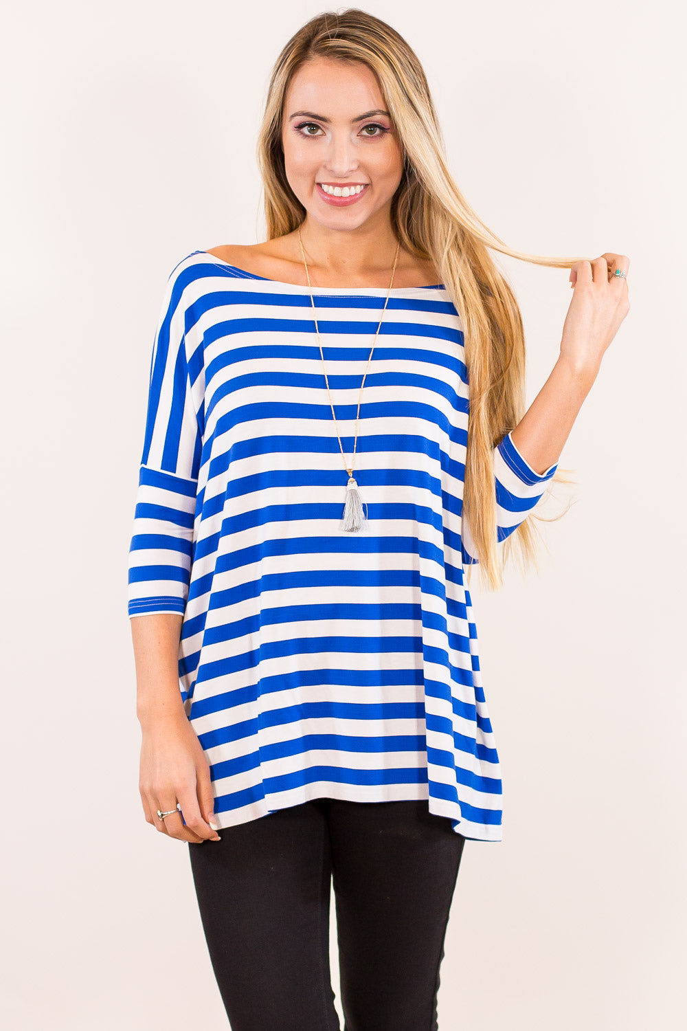 3/4 Sleeve Thick Striped Piko Top - White/Royal