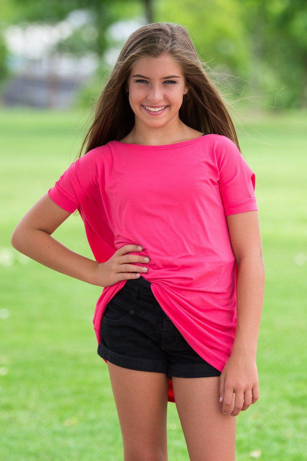 Short Sleeve Kids Piko Top - Hot Pink - Piko Clothing