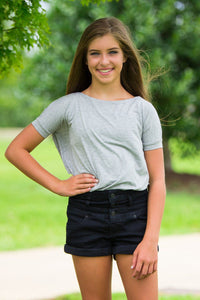 Short Sleeve Kids Piko Top - Heather Grey - Piko Clothing